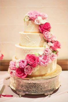 wedding cake with pink roses @weddingchicks