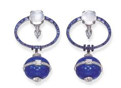 A PAIR OF ART DECO SAPPHIRE, MOONSTONE, ENAMEL AND DIAMOND EAR PENDANTS, BY GEORGES FOUQUET - Christie's
