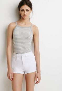 $9, Forever 21 Cuffed Denim Shorts. Sold by Forever 21. Click for more info: https://lookastic.com/women/shop_items/233333/redirect