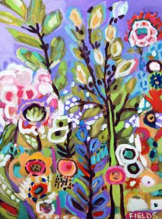 Large Original Abstract Folk Flowers Wall by karenfieldsgallery, $175.00