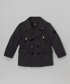 Look at this #zulilyfind! Gray Peacoat - Infant, Toddler & Boys #zulilyfinds
