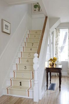 Love the numbered stairs in the kitchen but I would start with the #1 on the bottom step