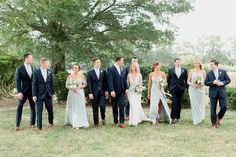 Mismatched, uneven wedding party portraits. Wedding party photos, bridal party, bridesmaids, groomsman, blue suits, blue gray bridesmaids dresses, Jenny Yoo, Anne Barge, bride, wedding day, wedding photography, wedding dress, outdoor wedding