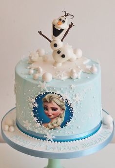 Best Birthday Cake Ideas For Girls: Frozen Cake - Elsa Cake Olaf Birthday Cake, Unique Birthday Cakes, Frozen Themed Birthday Party, Birthday Cake Girls, Elsa Birthday, 22 Birthday, Birthday Parties, Turtle Birthday, Princess Birthday