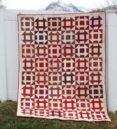 Red and White Churn Dash Quilt by Amy Smart at Diary of a Quilter Two Color Quilts, Blue Quilts, Colorful Quilts, Quilting Projects, Quilting Designs, Quilting Ideas, Quilting Fabric, Quilting Tutorials, Sewing Projects