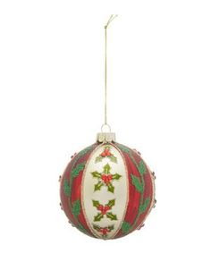Painted Stripe Holly Glitter Bauble