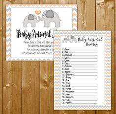 Elephant Baby Animal Names in Peach, Neutral Baby Shower Games, Baby Animal Names Game, Instant Download