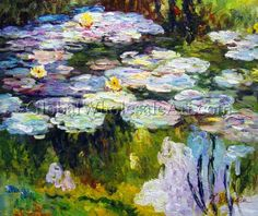 """Violet Water Lilies"" by Claude Monet. $159. Oil painting from www.globalwholesaleart.com"
