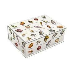 """Boîte de rangement """"coquillages & crustacés"""" - 35,5 x 26 x 13 cm dans la boutique #scrapmalin sur DaWanda. Pour ranger vos souvenirs marins, vos bijoux, vos lettres, vos petits secrets <3"""