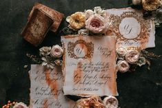 Black tie, dark and moody elegant wedding stationery with calligraphy and hand painted gold crests. French Wedding, Elegant Wedding, Italian Wedding Invitations, Country Wedding Inspiration, Private Estate Wedding, Countryside Wedding, Country Weddings, Crests, Italy Wedding