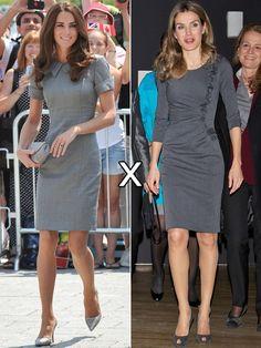 Magra e com cabelos castanhos, Kate e Letizia são parecidas fisicamente e, vez por outra, apostam em modelitos quase iguais. É o quase dos vestidos na cor cinza com modelagem acinturada e comprimento acima dos joelhos.