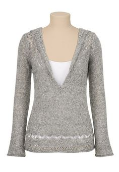 Shimmer V-Neck Hooded Sweater (original price, $34) available at #Maurices