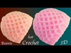 Aprende a tejer fácil con Gancho Crochet un gorro con hojas flores en relieve - YouTube