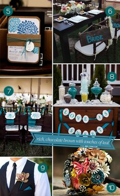 Adding teal touches to a brown wedding palette (chair decorations, food, and sweets) #brownpalette #tealaccents #wedding palette
