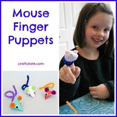 Mouse Finger Puppets from Craftulate