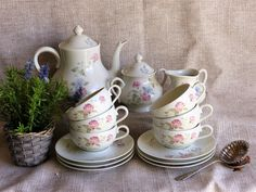 Vintage Limoges Tea Set, Limoges Tea Service, Garden Party Tea Set, Tea Service for 6, Pretty Floral Tea Set, Wedding Tea Service, LIMOGES by JadisInTimesPast on Etsy