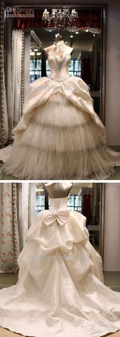 Crystal luxury A-line Sweetheart Beaded Bow Layered Cathedral Train Lace-up Wedding Dresses