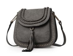 Angel Voices Women Bag Tassel Famous Brand Saddle Rivet Women Messenger Bags Scrub Weave Shoulder Bags Small Cross Body Handbags