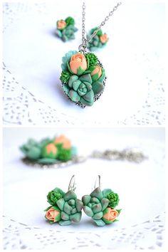 Succulent necklace earrings set. Succulent roses by IvannaFlorist