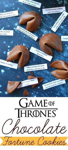 Even better than a regular Fortune cookie - a chocolate fortune cookie that's filled with Game of Thrones 'fortunes'!!!! Perfect for your next Game of Thrones viewing party! FREE Printable 'fortunes' on the blog!