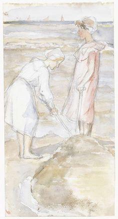 Twee meisjes in roze en wit op het strand, Jozef Isra�ls, 1834 - 1911