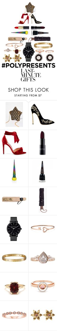 """""""#PolyPresents: Last-Minute Gifts"""" by bookgodess ❤ liked on Polyvore featuring Alexandre Birman, Christian Louboutin, Manic Panic NYC, Moschino, Madewell, Cartier, Luna Skye, Other, Marie Mas and La Perla"""