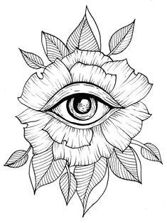 Flower Eye Tattoo Line Art Flash Art Leaves Leaf Geometric . - Tattoos of Hannah Tattoo Sketches, Tattoo Drawings, Art Sketches, Art Drawings, Drawing Art, Trippy Drawings, Small Drawings, Flash Art, Geometric Flower