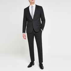 Shop our new Dark grey textured stretch skinny suit jacket at River Island today. Trouser Suits, Trousers, Skinny Suits, Suit Jackets, Mens Suits, Dark Grey, Style Guides, Nice Dresses, Clothing