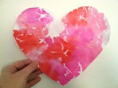 Valentine's Day Painted Heart With A Twist -  Used Vinegar and Colored Tissue