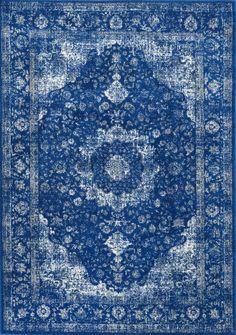 Bosphorus BD07 Distressed Persian Rug Dark Blue 8'x10' rectangle $213 100% polypropylene machine made