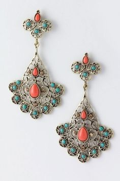 coral and turquoise earrings by hester. wedding jewelry