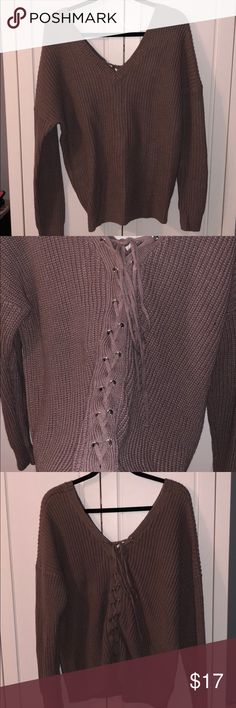 Back Lace Up Sweater Charlotte Russe Lace Up Back Sweater in Muave/ Purple.  Super soft and super comfy. Worn Twice.   V Neckline Charlotte Russe Sweaters V-Necks