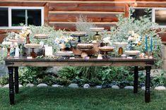 Private Estate – Lake Tahoe, CA Photographer Wedding Pie Table, Dessert Bar Wedding, Wedding Desserts, Wedding Cupcakes, Wedding Decorations, Wedding Pie Bars, Wedding Pies, Wedding Centerpieces, Wedding Cake