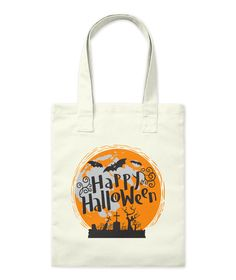 Happy Halloween Natural Tote Bag Front