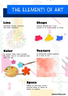 Elements Of Art, Art Tips, Keep It Cleaner, Presents, Shapes, Texture, Creative, Artwork, Color