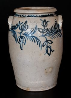 Fine B. C. MILBURN / ALEXA., Alexandria, VA Stoneware Jar w/ Slip-Trailed Floral Decoration -- July 19, 2014 Stoneware Auction by Crocker Farm, Inc.