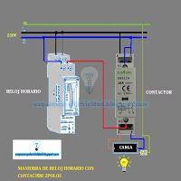 Esquemas eléctricos: Esquema eléctrico maniobra reloj horario con conta...