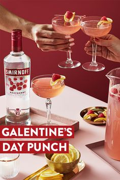 Smirnoff Raspberry Punch is the best drink recipe to toast with your lady squad on Galentine's Day!  Raspberry Punch Recipe (Serves 8): 0.5 cup Smirnoff Raspberry 1 can (about 12 oz) raspberry lemonade concentrate 1 bottle (750 ml) champagne 3 cups ginger ale 1 pint fresh raspberries Lemon for garnish. In a punch bowl, stir together the Smirnoff Raspberry, lemonade concentrate, champagne, and ginger ale. Pour the raspberries on top. Pour into glasses garnished with a lemon.