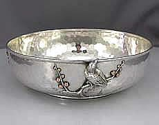 A sterling silver hammered bowl circa 1880