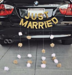 """just married sign for my carriage - then can hang it in front of the head table for reception as well (thinking also """"happily ever after"""") Wedding Signs, Our Wedding, Dream Wedding, Just Married Sign, Bridal Car, Wedding Car Decorations, Here Comes The Bride, Wedding Pictures, Perfect Wedding"""