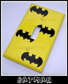 Items similar to Hand Painted Switch Plate Cover Batman Yellow Black on Etsy