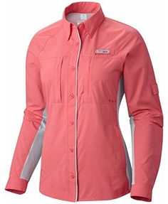 Columbia Women's Ultimate Catch ZERO Long Sleeve Shirt, Bright Geranium, Cirrus Grey, S. 100% polyester. Omni-FREEZE ZERO sweat-activated super cooling. Omni-WICK. Omni-SHADE UPF 50 sun protection. Antimicrobial treatment protects this product from bacterial growth.