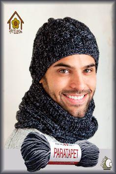 Mens Crochet Beanie, Knit Hat For Men, Hat For Man, Mens Scarf Knitting Pattern, Knitting Designs, Crochet Scarves, Crochet Hats, Laine Katia, Crochet For Boys
