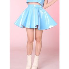 Made To Order Blue PVC Skater Skirt ($58) ❤ liked on Polyvore featuring skirts, pink skater skirt, pink circle skirt, pvc skirt, blue knee length skirt and flared skirt