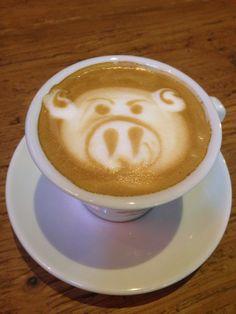 Wonderful latte art in the morning at otterhound cafe, Cilandak Town Square, Indonesia