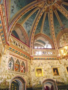 The stunning Castle Coch Drawing Room where George took Neil and Jackie to inspire their William Burgess style decor in the church Art And Architecture, Architecture Details, Inside Castles, Welsh Castles, Palace Interior, Grand Homes, Drawing Room, Ceiling Design, Historic Homes