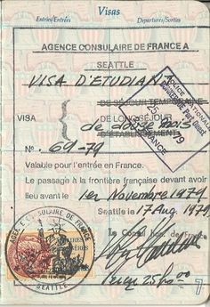 Inside my passport, August 17, 1979.