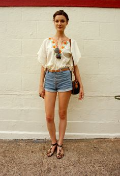 Cool denim short outfit