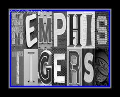 Memphis Tigers Basketball Letter Art Print by a2zphotography,  can be customized for any team see more at www.facebook.com/a2zphoto #memphis #tigers #letterart #decor #gift