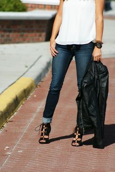 leather jacket + lace up heels